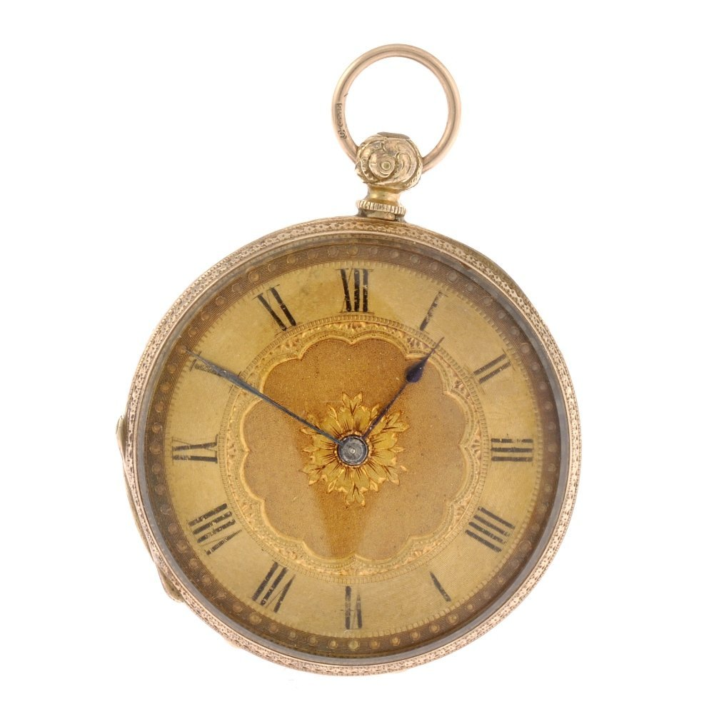 18: An 18k gold key wind open face pocket watch.