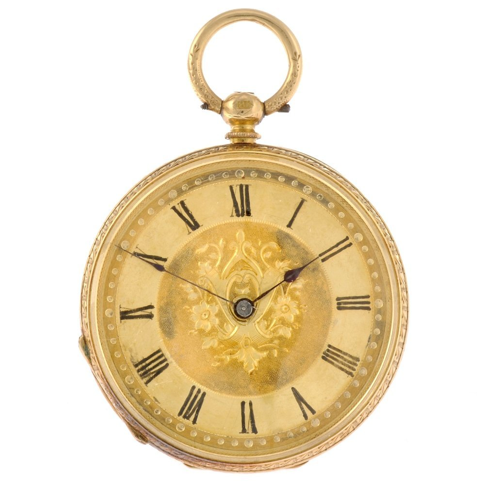 20: An 18k gold key wind open face pocket watch.