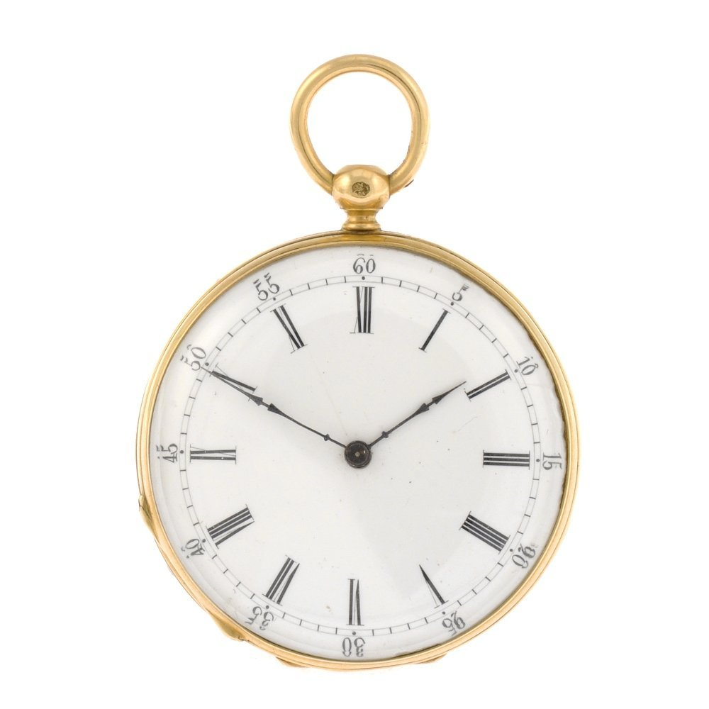 21: An 18k gold key wind open face fob watch.