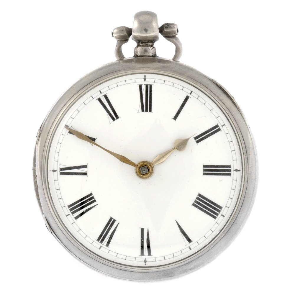 23: A silver key wind open face pocket watch.