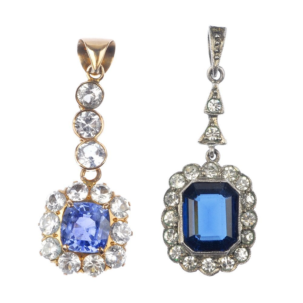 17: Two mid 20th century gem and paste pendants.