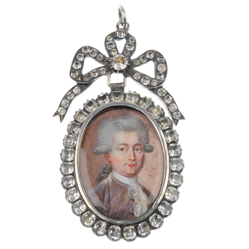 146: A miniature portrait and paste pendant.
