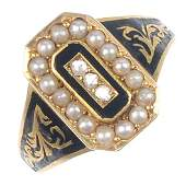 165: A late Victorian 18ct gold diamond and split pearl