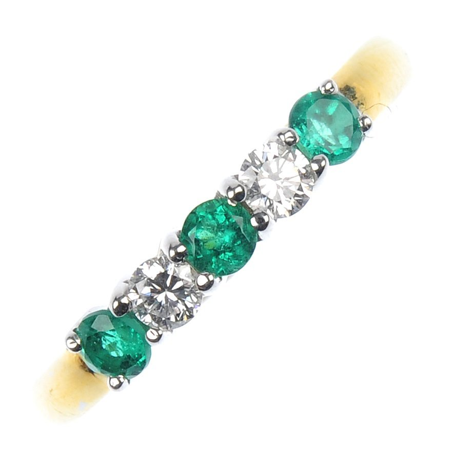 1: An 18ct gold emerald and diamond five-stone ring.