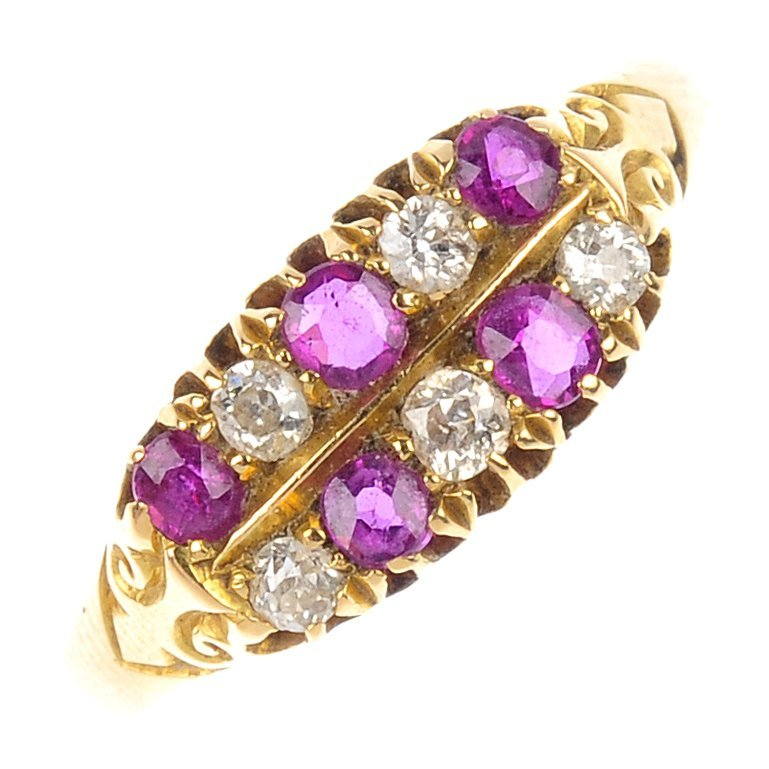10: An early 20th century 18ct gold ruby and diamond ri