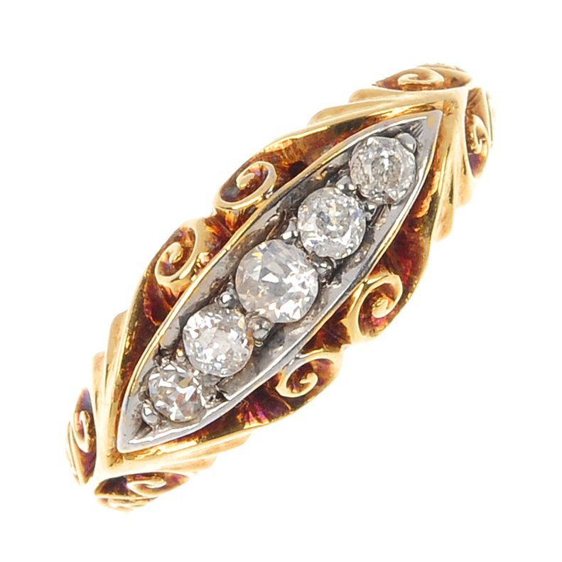 16: An early 20th century 18ct gold diamond five-stone
