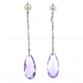 19: A pair of amethyst, diamond and cultured pearl ear
