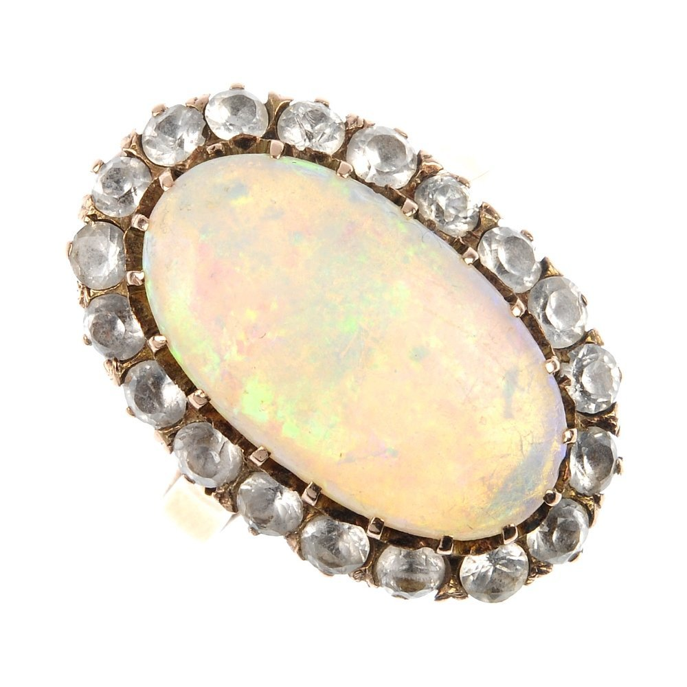 416: A mid 20th century gold opal and paste cluster rin