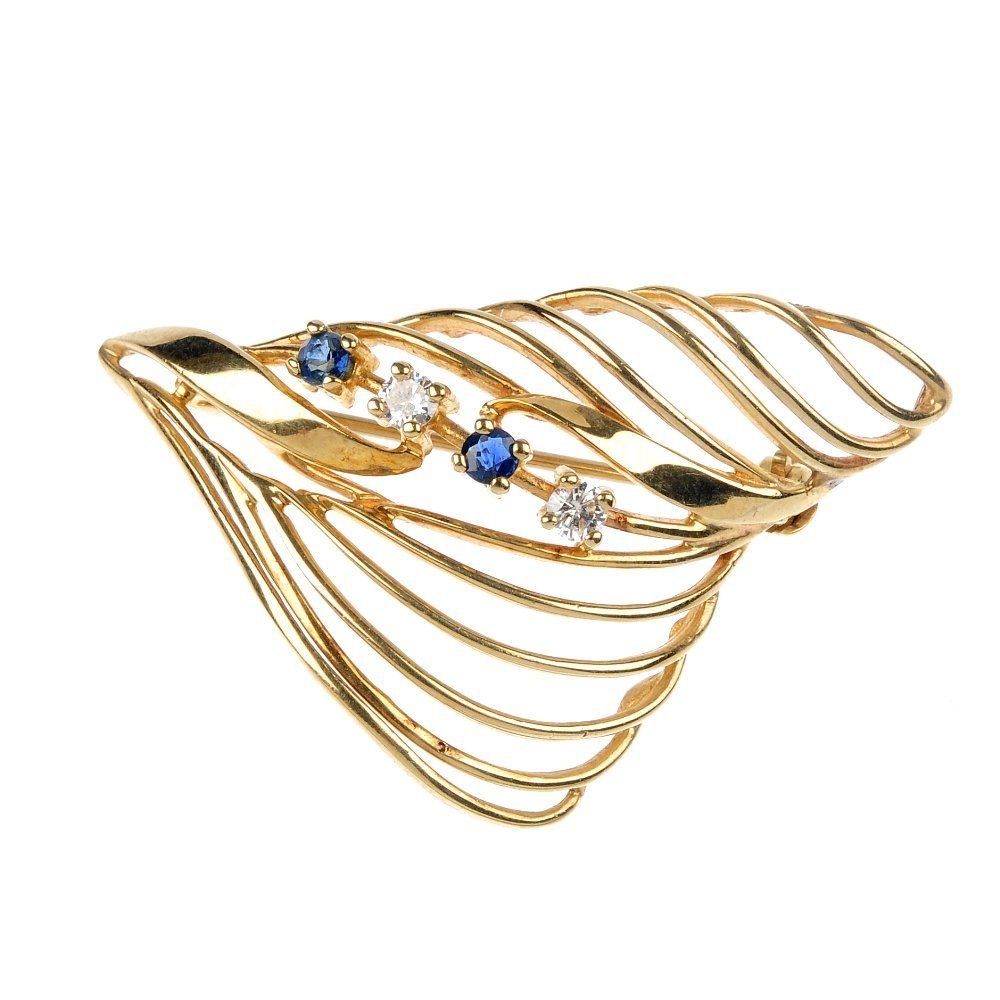 420: A 9ct gold sapphire and diamond leaf brooch.
