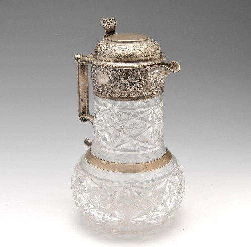 An early 20th century silver mounted and cut glass clar