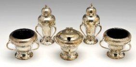 Art Nouveau silver five piece condiment set.