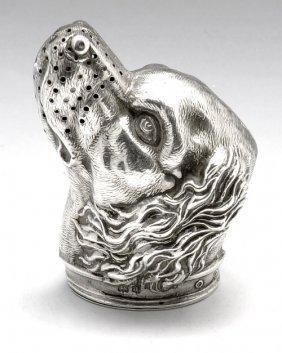 520: Edwardian novelty silver spaniel pepper.