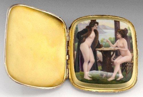 Concealed erotic enamel silver cigarette case.