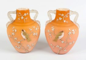 A Pair Of Enamelled Satin Glass Vases Attributed To Web