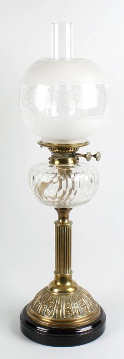19th century oil lamp with glass reservoir lamp shade a
