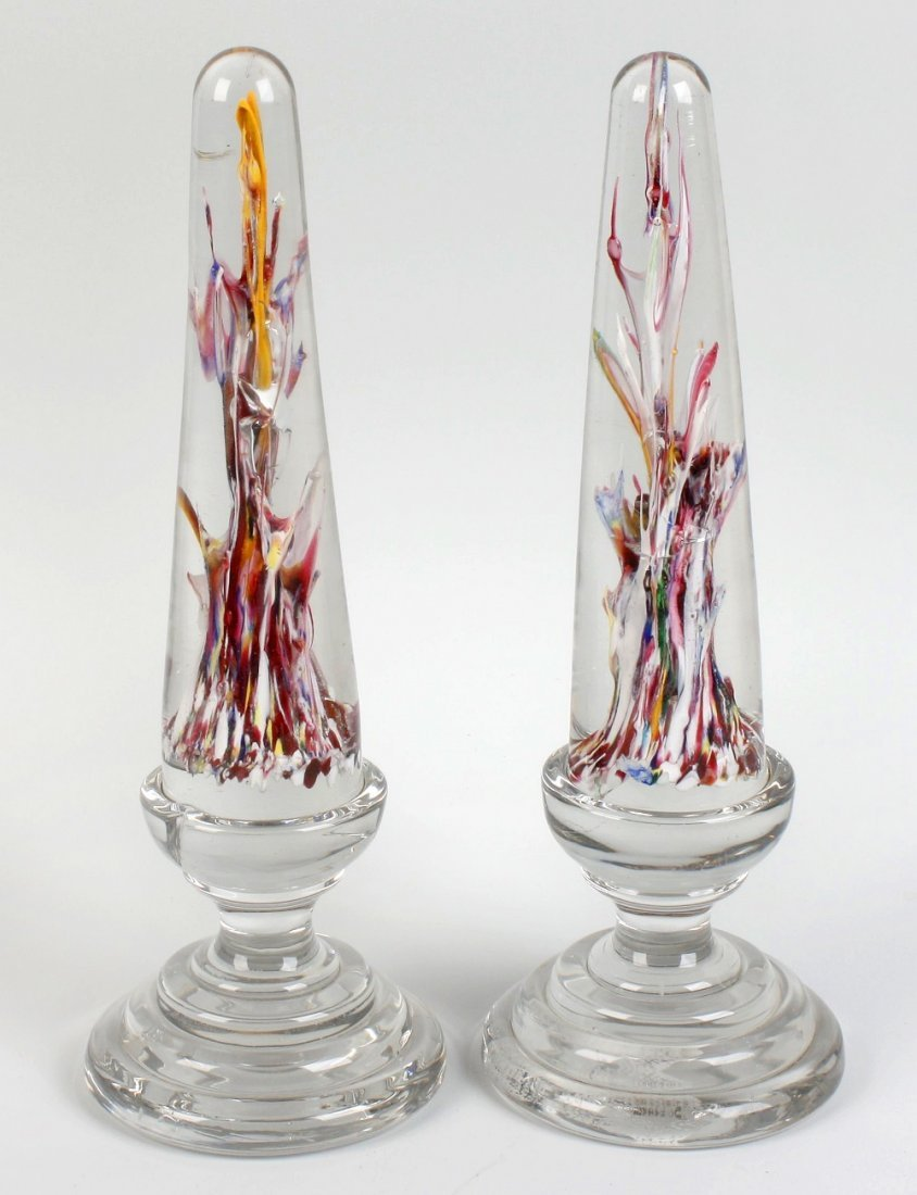 A pair of 19th century glass obelisks