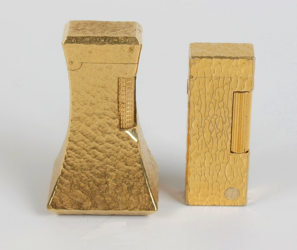 Two Dunhill  'bark' effect lighters