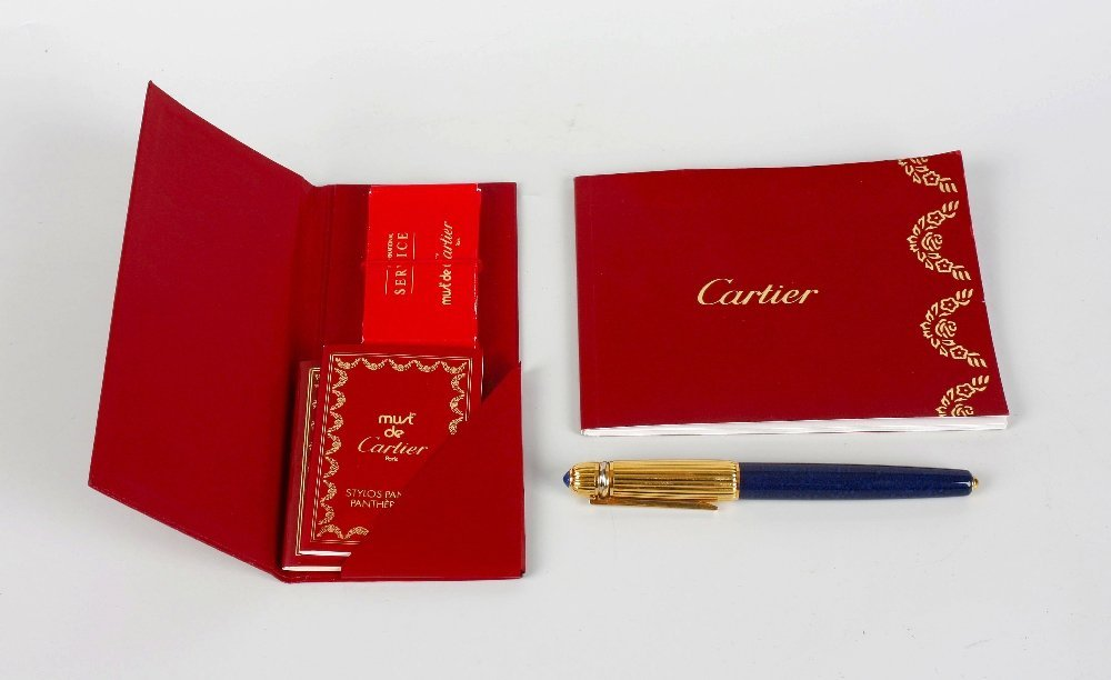 A boxed Pasha de Cartier Panthere fountain pen