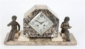 An Art Deco marble mantle clock by Japy Freres