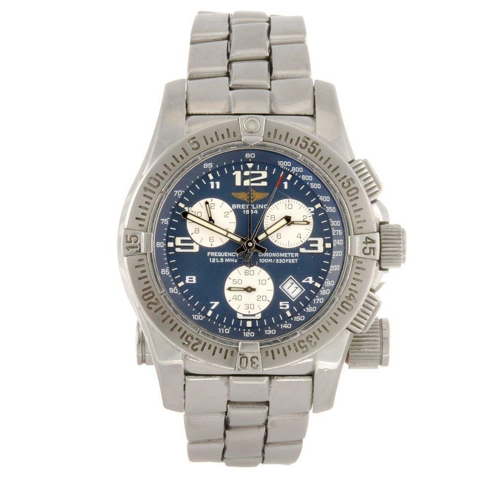 7: A stainless steel quartz chronograph gentleman's Bre