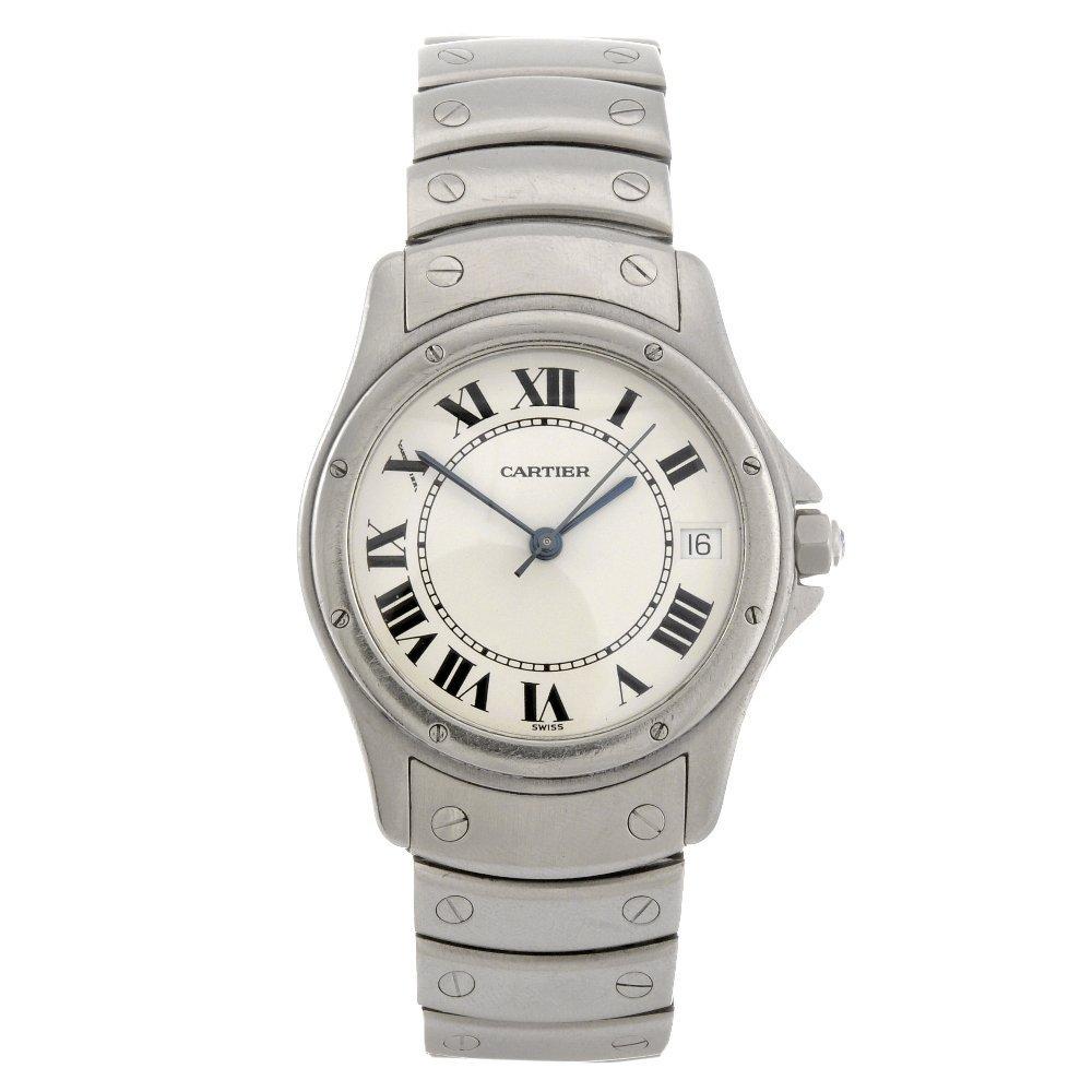11: A stainless steel automatic Cartier Santos bracelet
