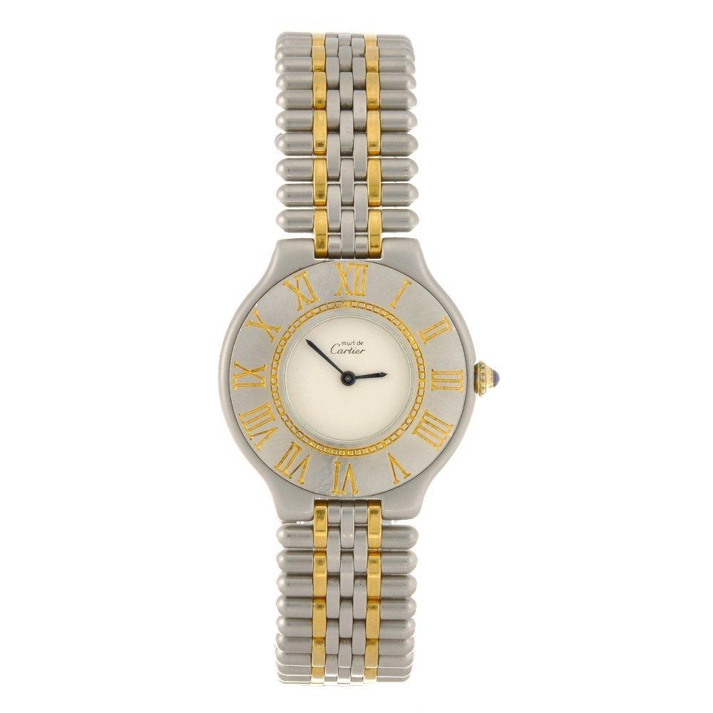 14: A bi-colour quartz Must De Cartier bracelet watch.