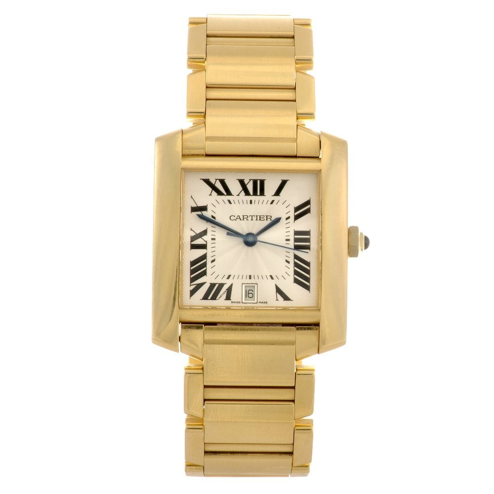 15: (0215633) An 18ct gold automatic Cartier Tank Franc