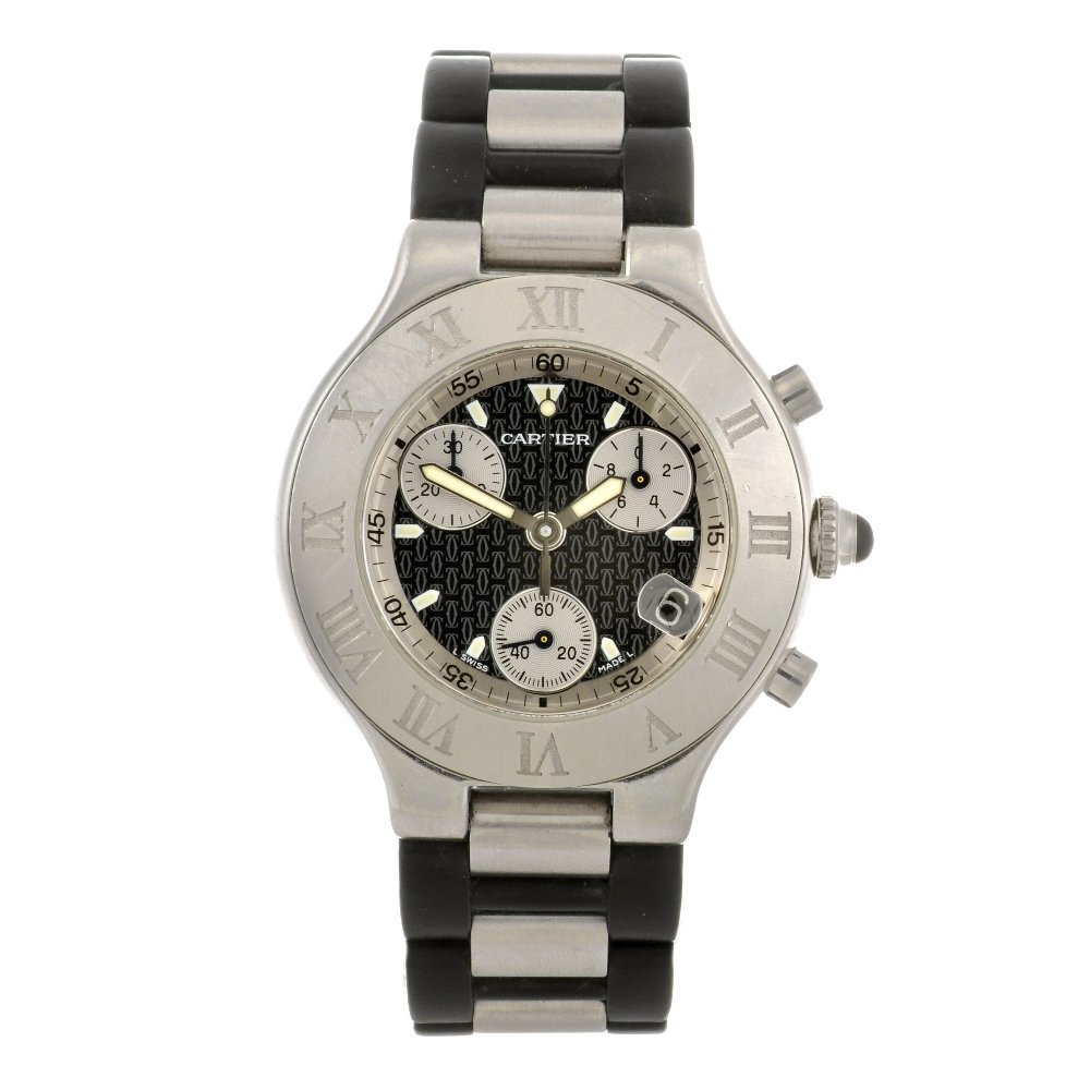 16: (63066) A stainless steel quartz Cartier Chronoscap