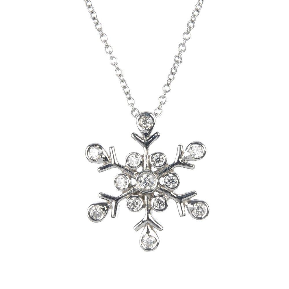 307: TIFFANY & CO. - a platinum diamond snowflake penda