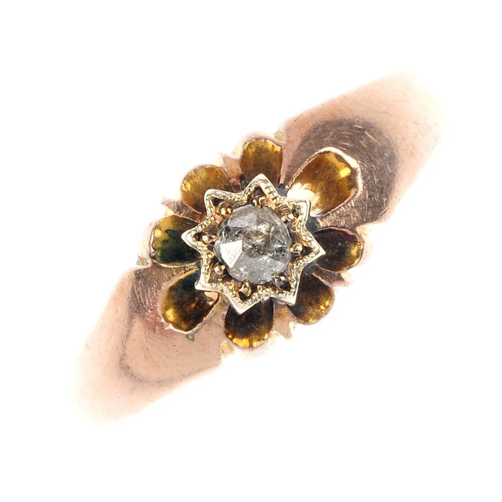 720: An early 20th century 9ct gold diamond ring and a