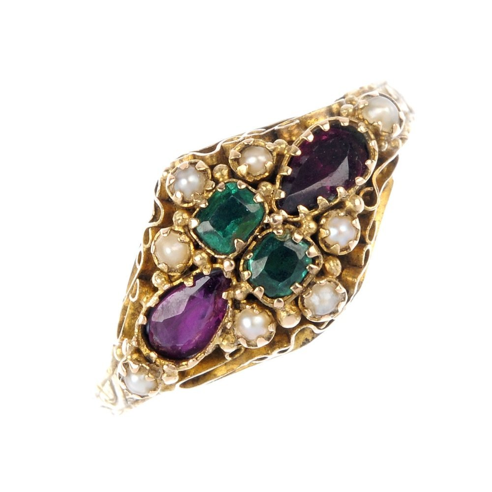 3: A late 19th century 15ct gold gem set ring.