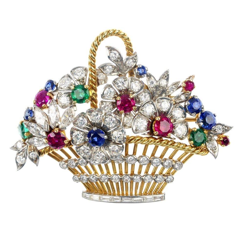 8: A diamond and multi-gem-set floral basket brooch.