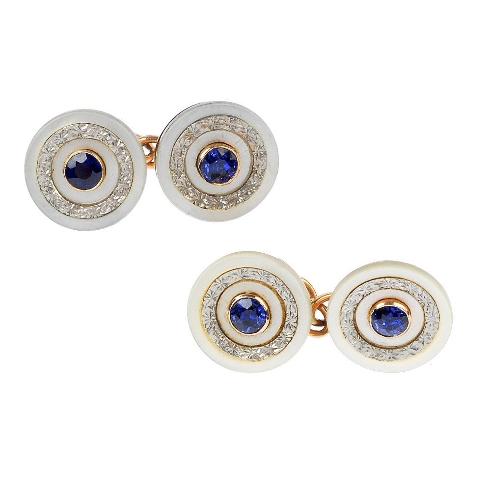24: A pair of sapphire and mother-of-pearl cufflinks.