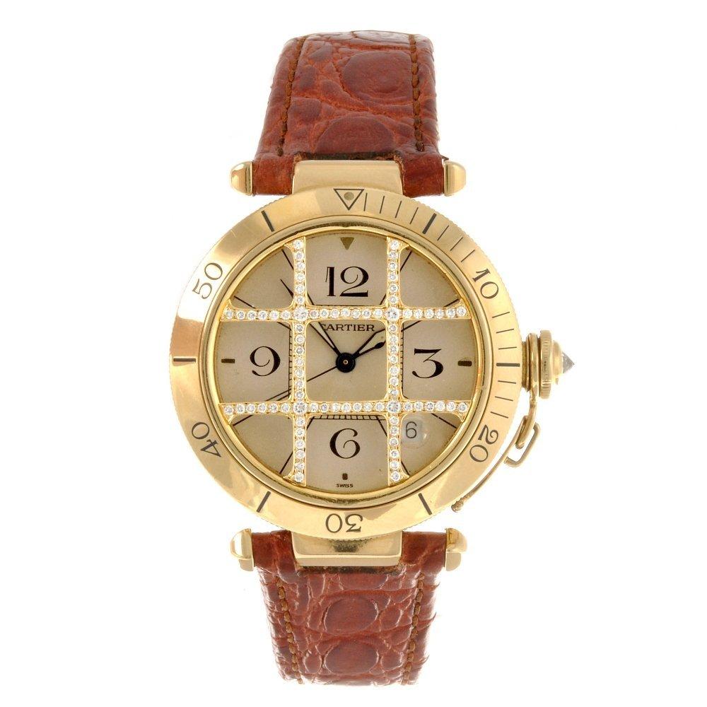 43: An 18k gold automatic Cartier Pasha wrist watch.