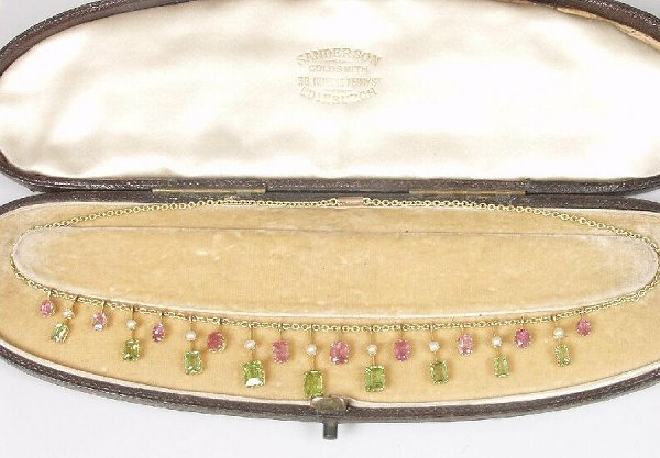 2: Edwardian 15ct gold fringe necklet of alte