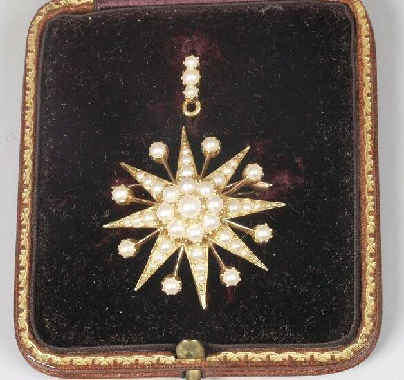 5: Edwardian pearl set star brooch/pendant wi