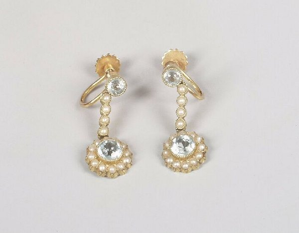 6: Edwardian 15ct gold seed pearl and aquamar