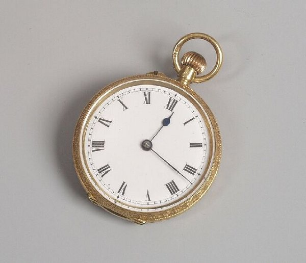 8: 18ct gold small top wind fob watch with im