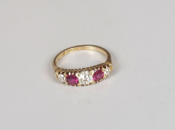 10: Victorian 18ct gold ruby and old cut diam