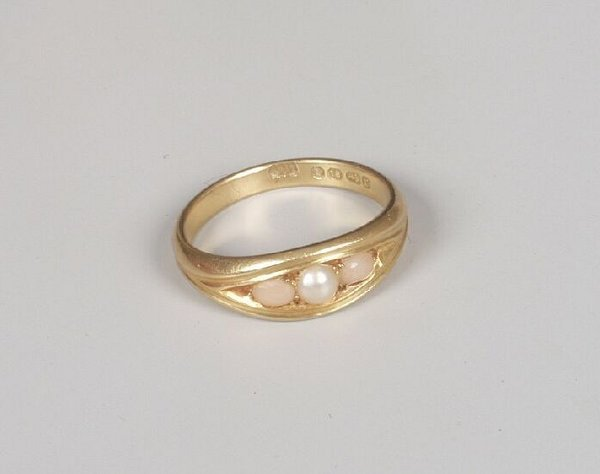 12: Victorian 18ct gold coral and pearl three