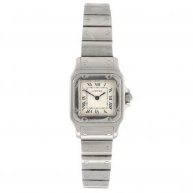 20: (712012609) A stainless steel quartz Cartier Santos