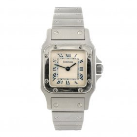 21: (63663) A stainless steel quartz Cartier Santos bra