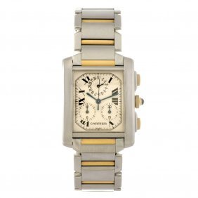 22: (104245) A bi-metal quartz gentleman's Cartier Tank