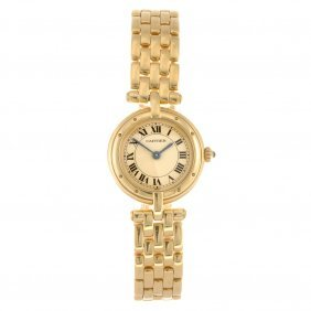 24: (121081751) An 18k gold quartz Cartier Panthere bra