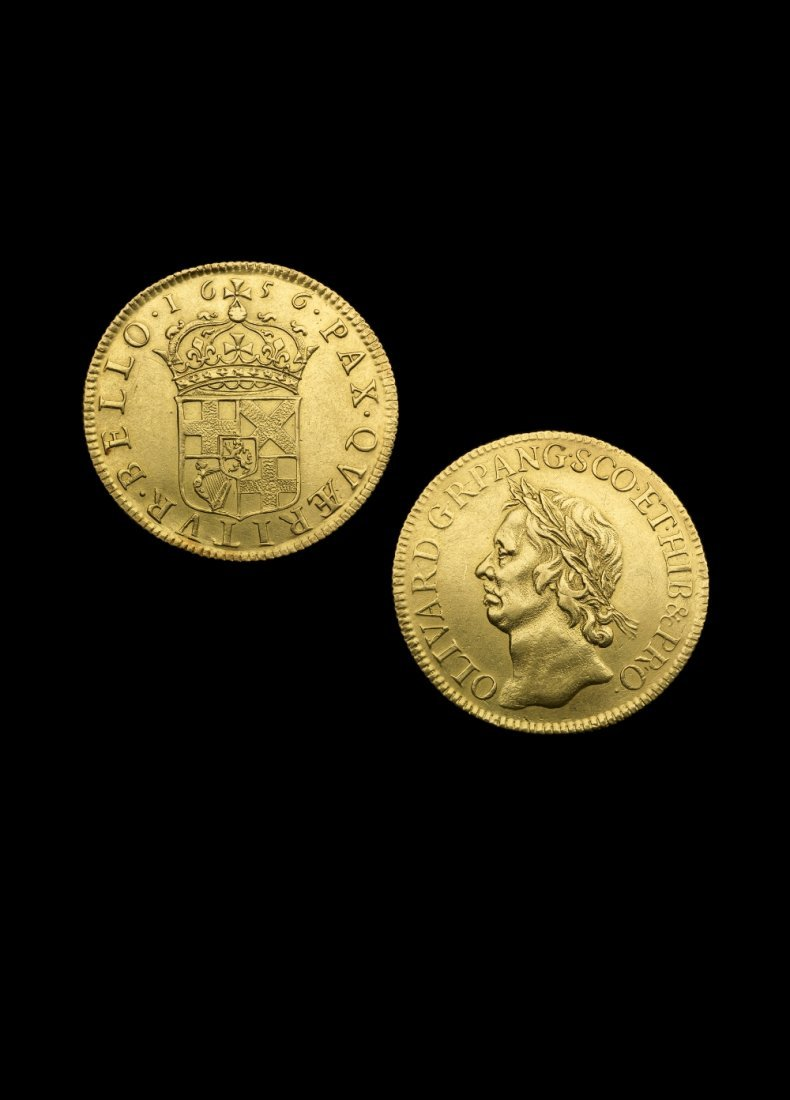 Oliver Cromwell, gold Broad of Twenty-Shillings 1656 by