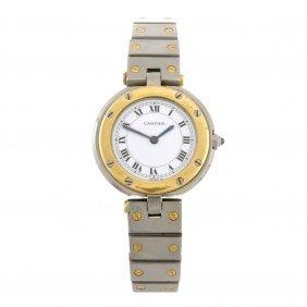 A bi-metal quartz Cartier Santos Vendome bracelet watch