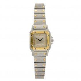 A bi-metal quartz Cartier Santos bracelet watch.