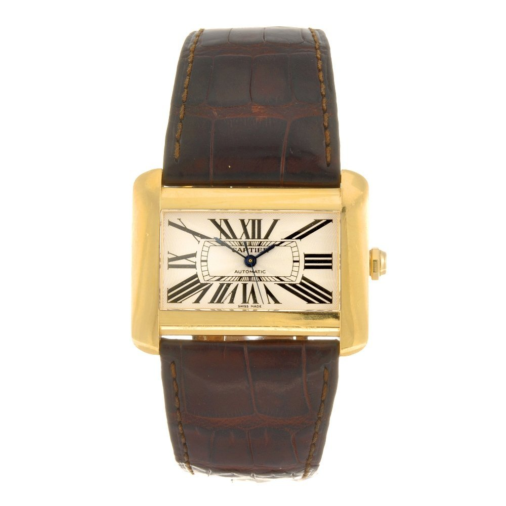 (134177147) An 18k gold automatic Cartier Divan wrist w