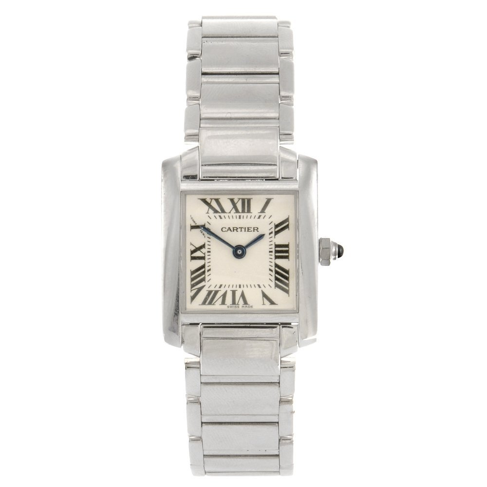 (104995584) An 18k white gold quartz Cartier Tank Franc
