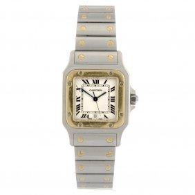(309081186) A bi-metal quartz Cartier Santos bracelet w